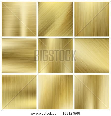 Gold texture vector set, shiny golden yellow plates. Surface shiny blank metallic illustration
