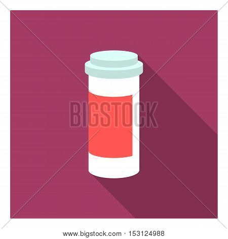 Prescription bottle icon in flat style isolated on white background. Medicine and hospital symbol vector illustration.