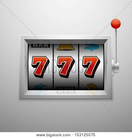 Vector slot machine with lucky seven casino jackpot win. Success gaming illustration