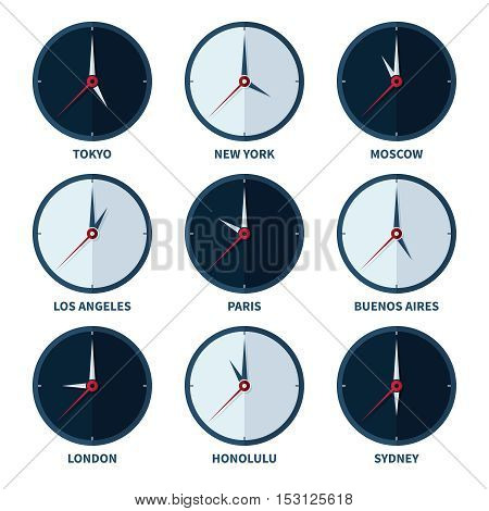 World clocks for time zones of different cities vector set. Travel to country with other timezone illustration