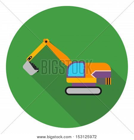 Excavator icon in flat style isolated on white background. Mine symbol vector illustration.