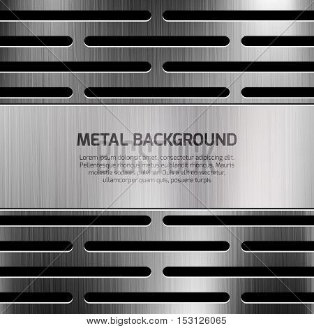 Abstract techno metal vector background. Template of poster with polished surface metallic illustration