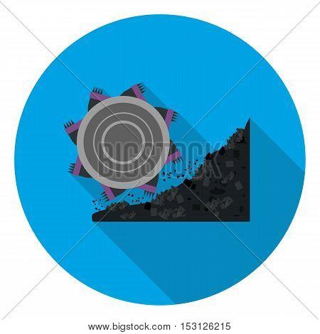 Bucket-wheel excavator icon in flat style isolated on white background. Mine symbol vector illustration.