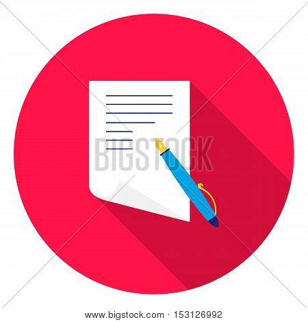 Paper and pen icon in flat style isolated on white background. School symbol vector illustration.