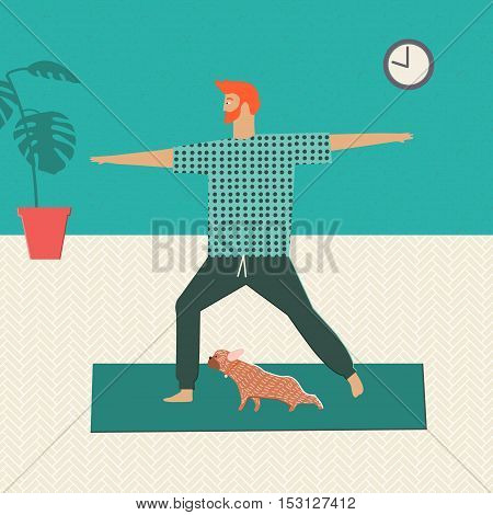 Men doing yoga at home together with his dog. Healthy lifestyle illustration in vector. People and pets.