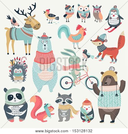 Christmas set with cute animals, hand drawn style. Vector illustration.