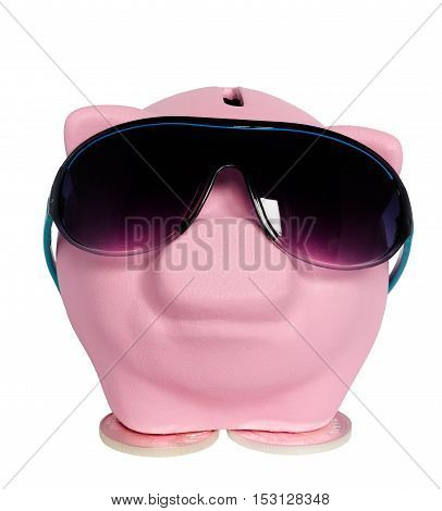 pink pig in sunglasses on a white background