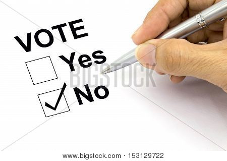 Man Voting no check-box, checklist paper concept