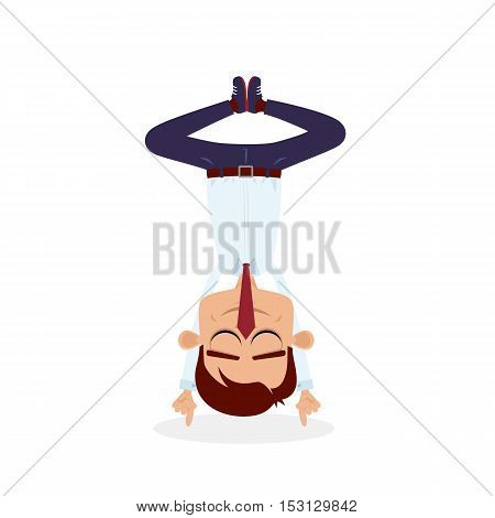 Office Yoga. Businessman With Closed Eyes Standing On His Head On The Index Fingers Of His Hands. Ve