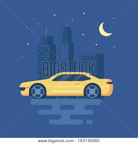Isolated modern vector illustration of sports car on the background of the city . Trend pseudo volume style. Yellow car. Night city with lights. Starry sky and skyscrapers.