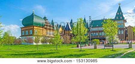 MOSCOW RUSSIA - MAY 10 2015: The renovated timbered Palace of Tsar Alexei Mikhailovich located on territory of Kolomenskoye Royal Estate on May 10 in Moscow.