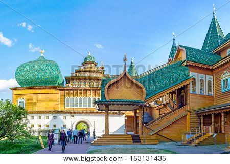MOSCOW RUSSIA - MAY 10 2015: The replica of the Royal Residence of Tsar Alexei Mikhailovich one of the most impressive medieval buildings in Old Russia on May 10 in Moscow.