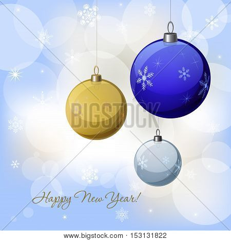 Christmas & New Year vector decoration design with blue, yellow,  white  baubles. Winter Holidays vector background with baubles snowflakes & lights for greeting cards gift package decorations.