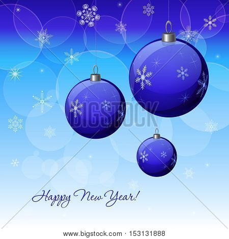 Christmas & New Year vector decoration design with blue baubles. Winter Holidays vector background with baubles snowflakes & lights for greeting cards gift package decorations.