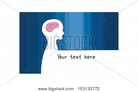 Abstract sillhouette of person with blue colour background. Intelligence brain symbol. White version. Showing of intelligence. Innovation text