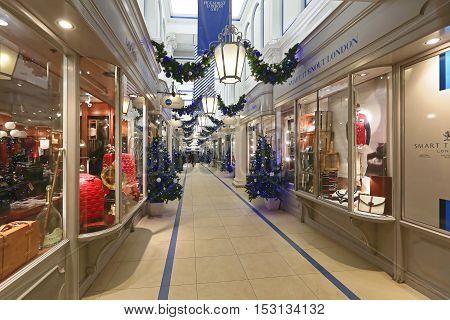 LONDON UNITED KINGDOM - NOVEMBER 20: Christmas Decoration at Princess Arcade in London on NOVEMBER 20 2013. Princess Arcade is a Boutique Shopping Centre at Piccadilly Street in London United Kingdom.