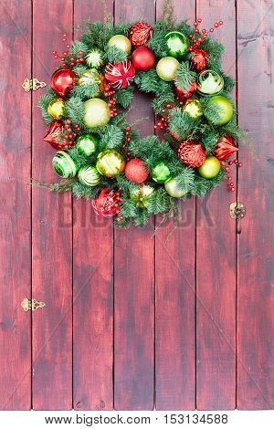 Full Frame Wooden Stained Door With Holiday Wreath