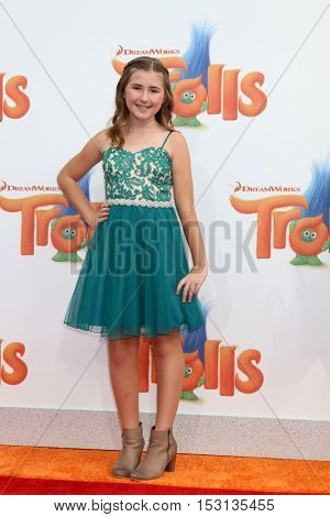 LOS ANGELES - OCT 23:  Hadley Belle Miller at the Trolls Premiere at Village Theater on October 23, 2016 in Westwood, CA