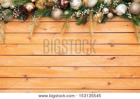 Christmas Garland Borders Wood Panel Background