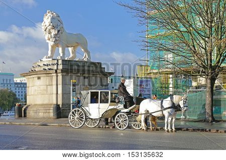 LONDON UNITED KINGDOM - NOVEMBER 20: White Tandem Carriage in London on NOVEMBER 20 2013. White Coach With Two Horses at Wesminster Bridge in London United Kingdom.