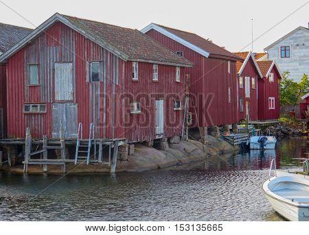 some old boathouse on swedish westoast at smogen