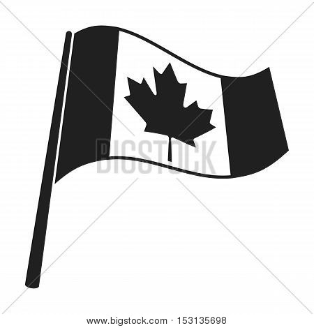 Canadian flag icon in black style isolated on white background. Canadian Thanksgiving Day symbol vector illustration.