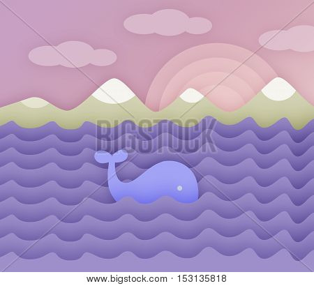 Whale in the ocean. Seascape with a whale, the ocean and the mountains. Paper style.