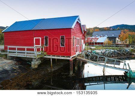 Norwegian Red Wooden Fishing Barn