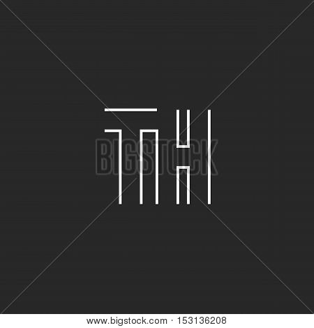 Letters Th Logo Linear Capital Ht Symbol Template. Maze Shape T H Monogram Initials Black And White