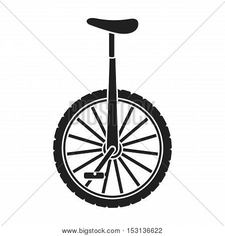Monocycle icon in black style isolated on white background. Circus symbol vector illustration.