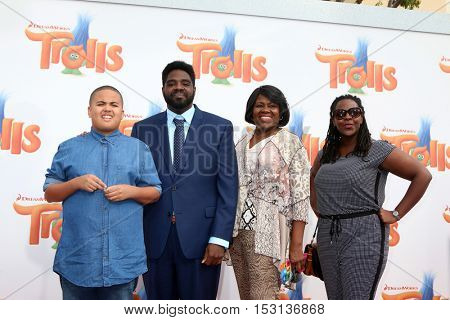 LOS ANGELES - OCT 23:  Malcolm Funches, Ron Funches, guests at the Trolls Premiere at Village Theater on October 23, 2016 in Westwood, CA