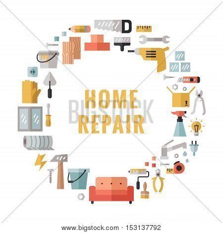 Home repair and construction multicolored flat circle vector frame. Modern minimal design.
