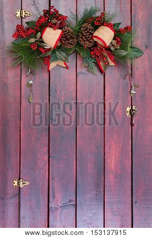 Country Christmas Decoration On Wood