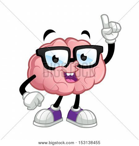 Brain cartoon character, he wears glasses,  Quizás quisiste decir: ilustración vectorial vector illustration