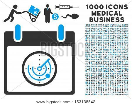 Blue And Gray Radar Calendar Day glyph icon with 1000 medical business pictograms. Set style is flat bicolor symbols, blue and gray colors, white background.