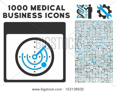 Blue And Gray Radar Calendar Page glyph icon with 1000 medical business pictograms. Set style is flat bicolor symbols, blue and gray colors, white background.