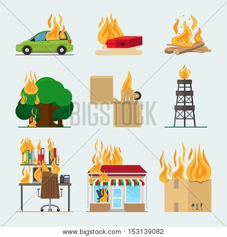 Fire risk icons. Fire in home and building, forgot fire vector signs for insurance and fire safety infographic