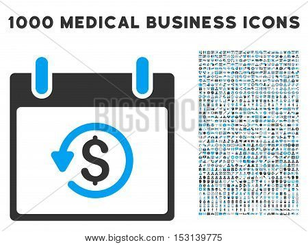 Blue And Gray Refund Calendar Day glyph icon with 1000 medical business pictograms. Set style is flat bicolor symbols, blue and gray colors, white background.