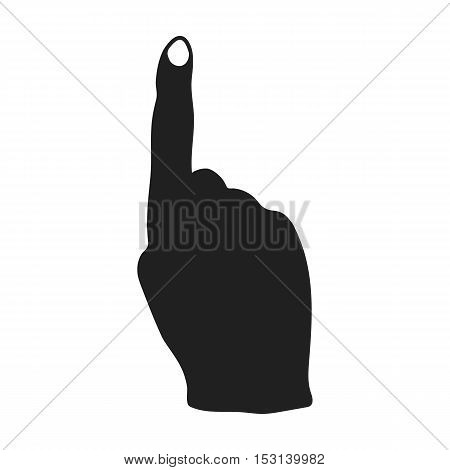 Raised index finger icon in black style isolated on white background. Hand gestures symbol vector illustration.