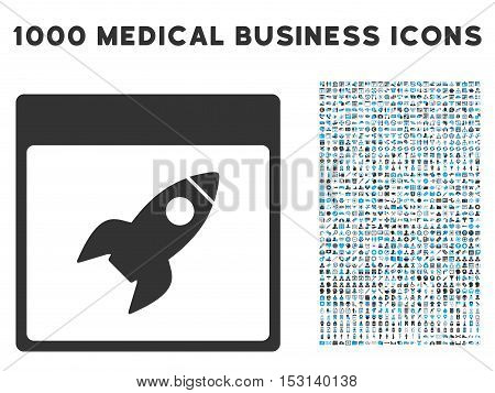 Blue And Gray Rocket Calendar Page glyph icon with 1000 medical business pictograms. Set style is flat bicolor symbols, blue and gray colors, white background.
