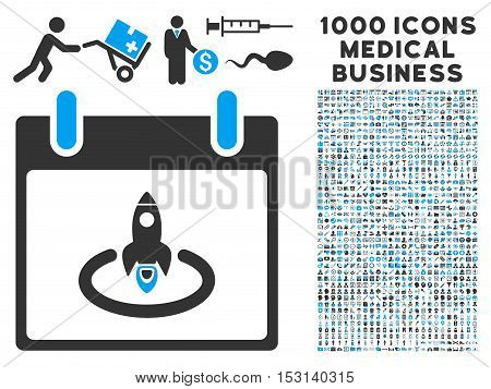 Blue And Gray Rocket Start Calendar Day glyph icon with 1000 medical business pictograms. Set style is flat bicolor symbols, blue and gray colors, white background.