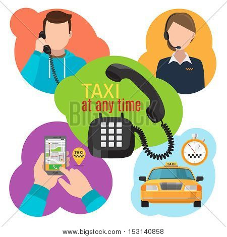 Taxi service vector illustration with urban cab motor service, mobility phone app and taxi operator calls