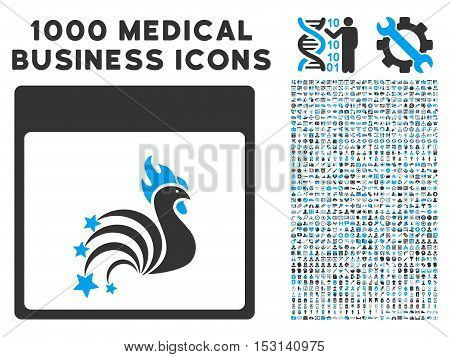 Blue And Gray Rooster Fireworks Calendar Page glyph icon with 1000 medical business pictograms. Set style is flat bicolor symbols, blue and gray colors, white background.
