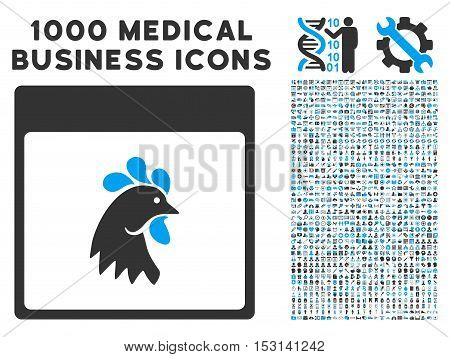 Blue And Gray Rooster Head Calendar Page glyph icon with 1000 medical business pictograms. Set style is flat bicolor symbols, blue and gray colors, white background.