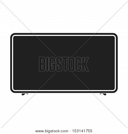 LCD television icon in black style isolated on white background. Household appliance symbol vector illustration.