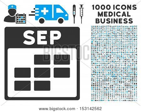 Blue And Gray September Calendar Grid glyph icon with 1000 medical business pictograms. Set style is flat bicolor symbols, blue and gray colors, white background.