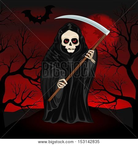 Grim Reaper on a dark background for Halloween