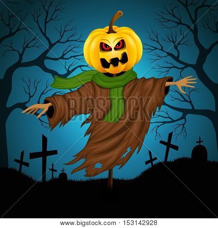 Scarecrow for Halloween on the background of the cemetery