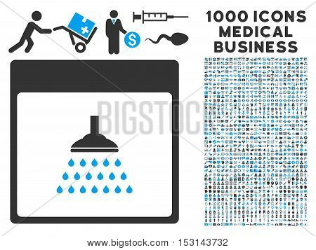 Blue And Gray Shower Calendar Page glyph icon with 1000 medical business pictograms. Set style is flat bicolor symbols, blue and gray colors, white background.