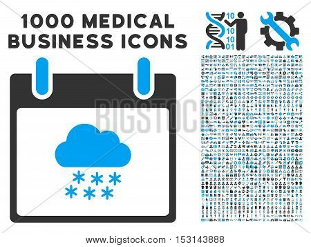 Blue And Gray Snow Cloud Calendar Day glyph icon with 1000 medical business pictograms. Set style is flat bicolor symbols, blue and gray colors, white background.